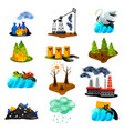 ecological problems flat icons vector image vector image