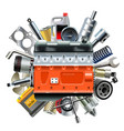 engine with car spares vector image vector image