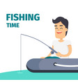 fishing time concept with fisherman on boat vector image