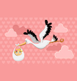 flying stork delivery vector image vector image
