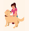 girl with her dog vector image