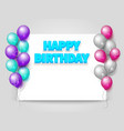 happy birthday greeting card with paper sheet vector image vector image