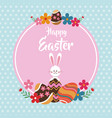 happy easter rabbit egg floral dots background vector image vector image
