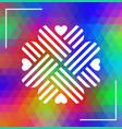 heart shaped cloverleaf ornament over triagonal vector image vector image