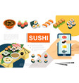 isometric japanese food composition vector image vector image