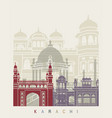 karachi skyline poster vector image vector image