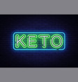 keto diet neon sign ketogenic diet design vector image