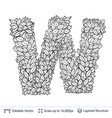 letter w symbol of white leaves vector image vector image