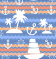 Marine background Palms anchor steering wheel wave vector image vector image