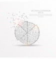 pie chart low poly wire frame on white background vector image vector image