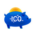 pig money box icon with falling bitcoin ico vector image vector image