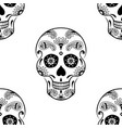 seamless pattern of black sugar skull with doodle vector image vector image