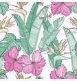 seamless pattern with leaves and hibiscus flowers vector image