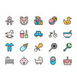 set childhood flat color icons toys bicycle vector image