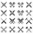 set crossed tools and car parts design vector image
