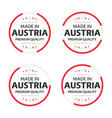 set four austrian icons made in austria vector image vector image
