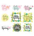 set of handwritten inscriptions hello spring vector image vector image