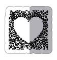 sticker border of creepers in heart shape vector image