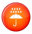 Umbrella and rain icon flat style vector image vector image