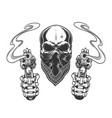 Vintage monochrome bandit skull in bandana