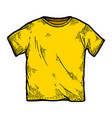 yellow color t-shirt sketch engraving vector image vector image