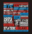 college brooklyn new york typography design vector image