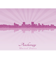 Anchorage skyline in purple radiant orchid vector image vector image