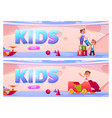 banners with kids on playground in kindergarten vector image