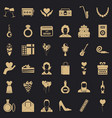 birthday celebration icons set simple style vector image vector image