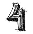 black sketch drawing numbers vector image vector image