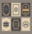 Calligraphic vintage floral cards collection