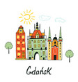 card with medieval buildings in gdansk vector image vector image