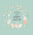 cartoon easter wreath with cute rabbits and easter vector image vector image
