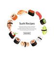 cartoon sushi elements circle concept vector image