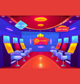 casino interior gambling house with slot machines vector image vector image