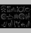 chalk hand draw restaurant food icons set vector image vector image