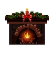 Christmas fireplace with fir vector image