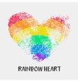 Conceptual logo with fingerprint rainbow heart vector image vector image