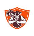cowboy camera operator shield vector image vector image