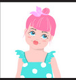 cute girl with pink hair cartoon vector image vector image