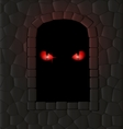 darkness stone wall and red eyes vector image vector image