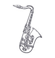doodle music wind instrument saxophone vector image