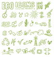 eco icons hand draw 4 vector image vector image
