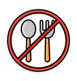 fork and spoon with forbidden sign line and fill vector image