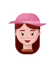 girl wearing a pink hat flat icon vector image vector image