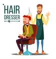 hairdresser and man barber scissors vector image vector image