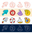 hand draw fish sea shell boat travel icon set in vector image vector image