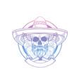 hand drawn sketch skull with sombrero vector image vector image
