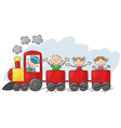 Happy little kids on a colorful train vector image vector image