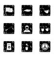 Hemp icons set grunge style vector image vector image